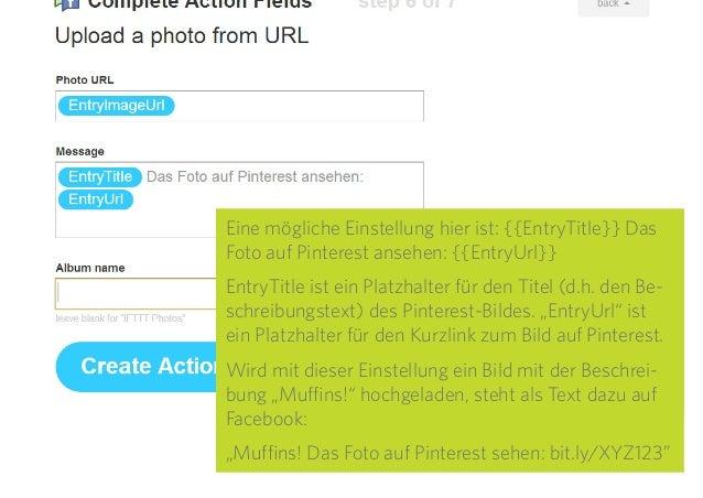 """24 Unter """"Message"""" kann der Text festgelegt werden, der beim Posten der Bilder auf Facebook angezeigt wird. Dabei sind auc..."""