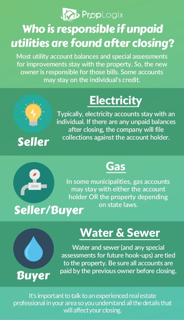 Who is responsible for unpaid utilities after closing?