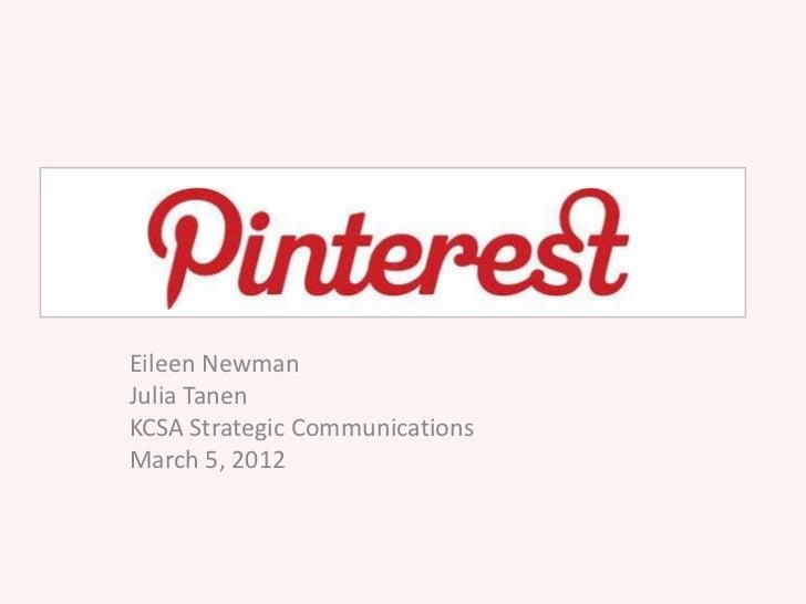 Eileen NewmanJulia TanenKCSA Strategic CommunicationsMarch 5, 2012