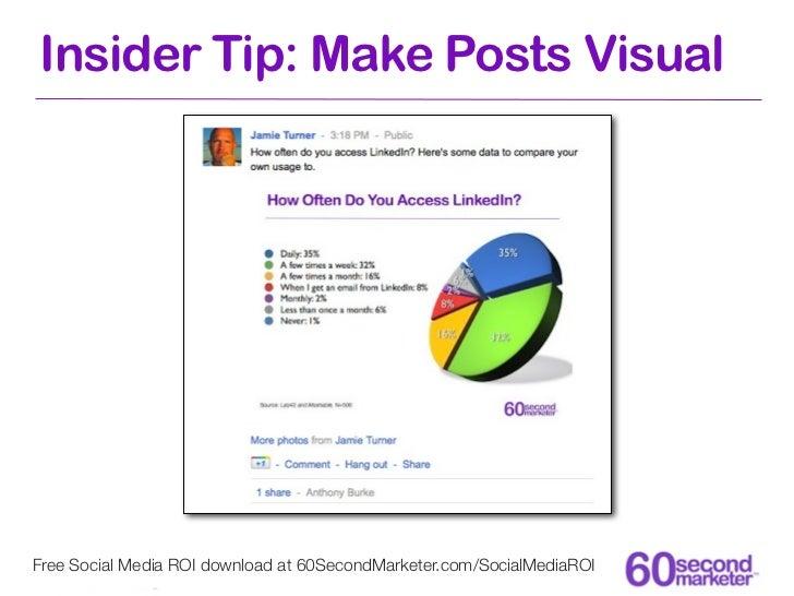 Insider Tip: Make Posts VisualFree Social Media ROI download at 60SecondMarketer.com/SocialMediaROI