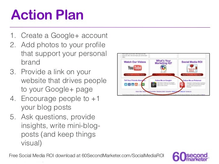 Action Plan1. Create a Google+ account2. Add photos to your profile   that support your personal   brand3. Provide a link o...