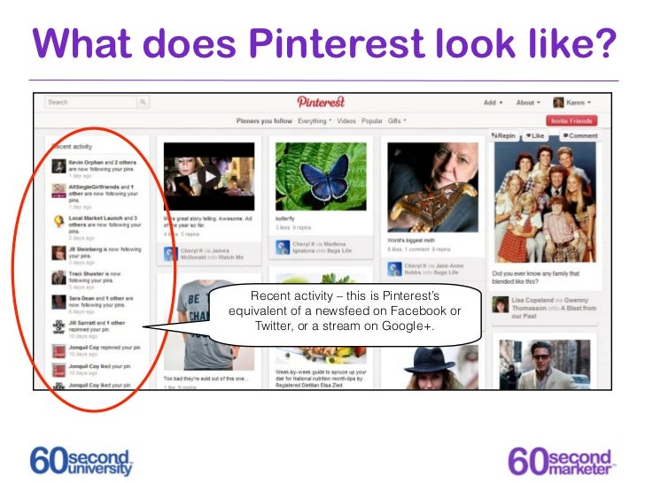 What does Pinterest look like?             Recent activity – this is Pinterest's          equivalent of a newsfeed on Face...