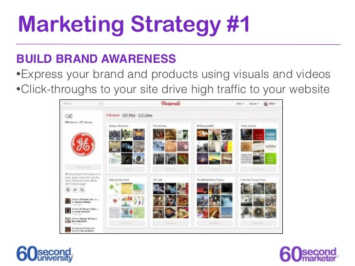 Marketing Strategy #1BUILD BRAND AWARENESS•Express your brand and products using visuals and videos•Click-throughs to your...