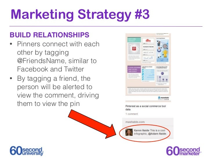 Marketing Strategy #3BUILD RELATIONSHIPS• Pinners connect with each  other by tagging  @FriendsName, similar to  Facebook ...