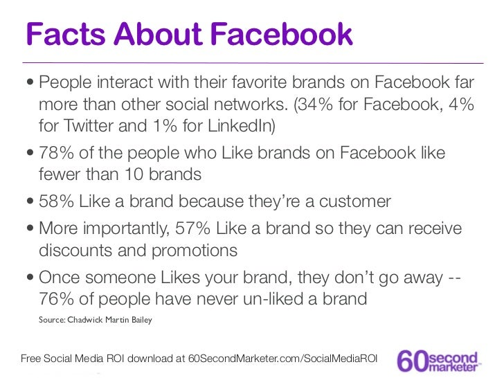 Facts About Facebook• People interact with their favorite brands on Facebook far  more than other social networks. (34% fo...