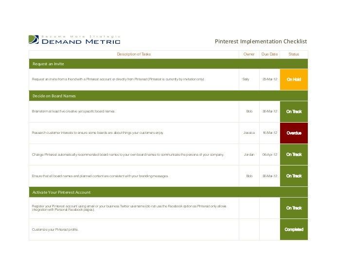 Pinterest Implementation Checklist                                                              Description of Tasks  ...