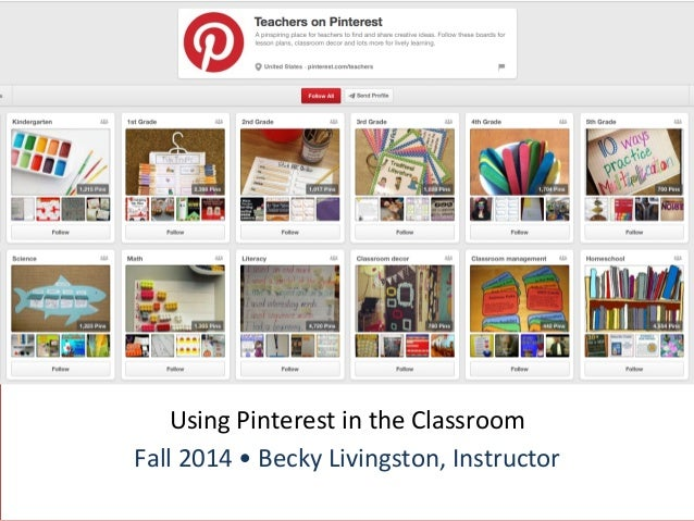 Using  Pinterest  in  the  Classroom  Fall  2014  •  Becky  Livingston,  Instructor