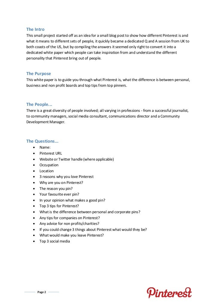 Pinterest White Paper (Pinterest Specialists Question and Answer) Slide 2