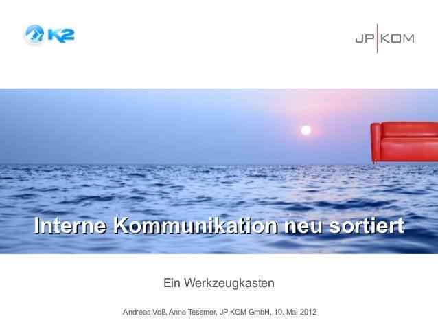 Interne Kommunikation neu sortiert                  Ein Werkzeugkasten        Andreas Voß, Anne Tessmer, JP|KOM GmbH, 10. ...