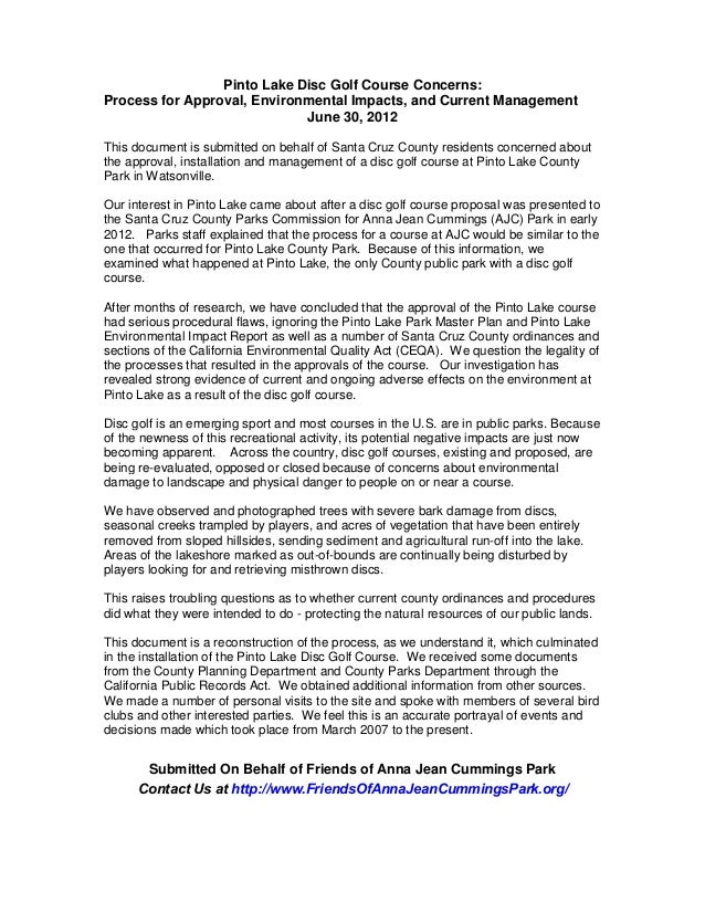 Pinto Lake Disc Golf Course Concerns:Process for Approval, Environmental Impacts, and Current Management                  ...