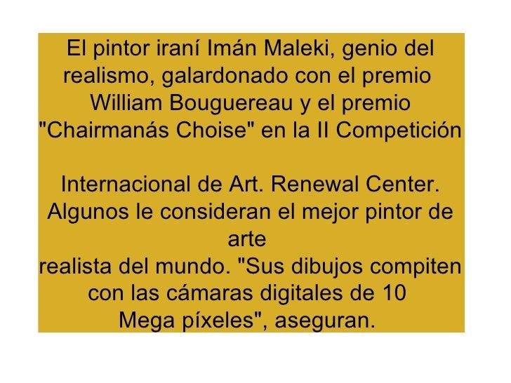 """El pintor iraní Imán Maleki, genio del realismo, galardonado con el premio  William Bouguereau y el premio """"Chairmaná..."""