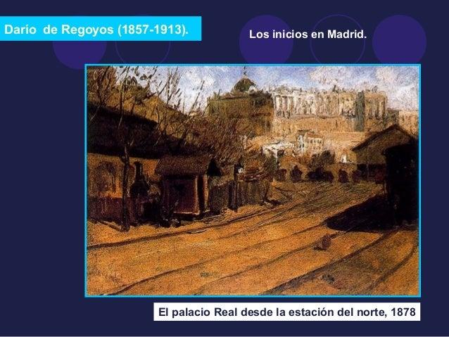 Darío de Regoyos (1857-1913).  Los inicios en Madrid.  El palacio Real desde la estación del norte, 1878