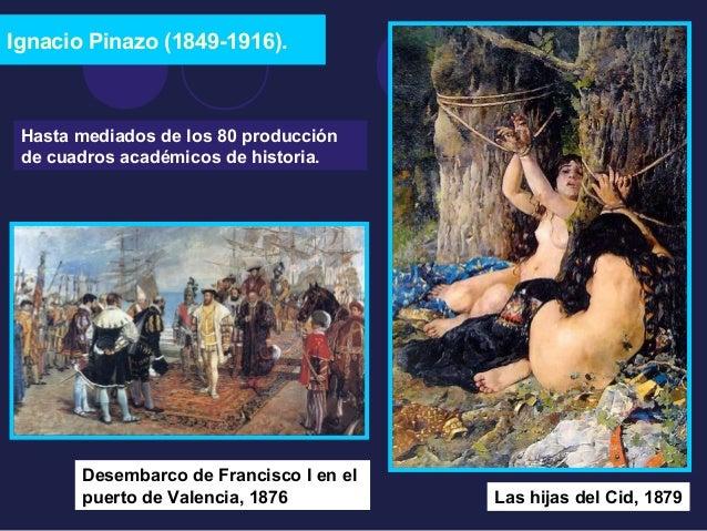 Ignacio Pinazo (1849-1916).  Hasta mediados de los 80 producción  de cuadros académicos de historia.  Desembarco de Franci...