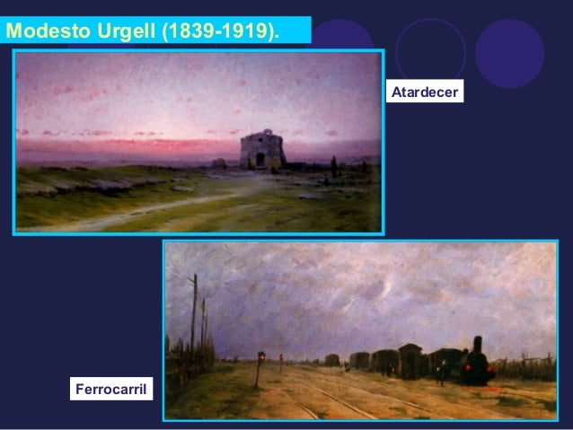 Modesto Urgell (1839-1919).  Atardecer  Ferrocarril