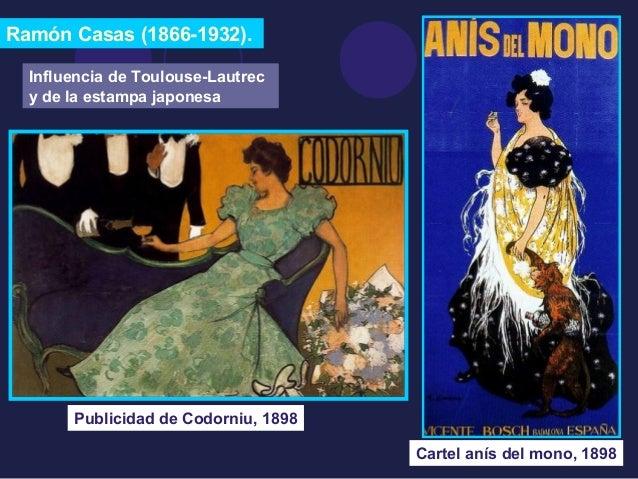 Ramón Casas (1866-1932).  Cartel anís del mono, 1898  Influencia de Toulouse-Lautrec  y de la estampa japonesa  Publicidad...
