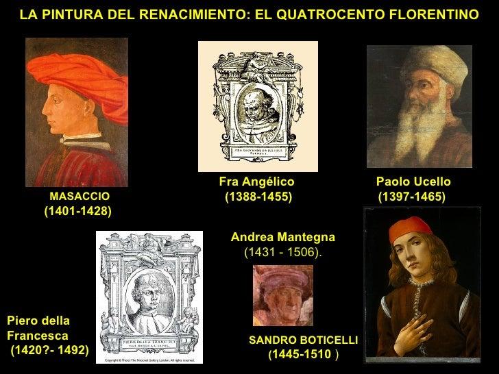 LA PINTURA DEL RENACIMIENTO: EL QUATROCENTO FLORENTINO MASACCIO (1401-1428)   SANDRO BOTICELLI ( 1445-1510  ) Paolo Ucello...