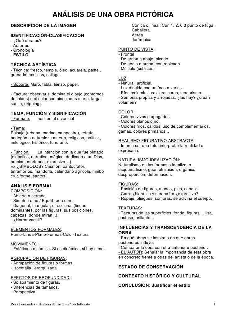 ANÁLISIS DE UNA OBRA PICTÓRICADESCRIPCIÓN DE LA IMAGEN                                      Cónica o lineal: Con 1, 2, 0 3...