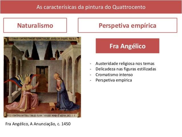 As caracterísicas da pintura do Quattrocento Naturalismo Perspetiva empírica Masaccio - Espiritualidade realista - Perspet...