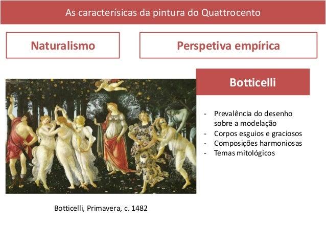 As caracterísicas da pintura do Quattrocento Naturalismo Perspetiva empírica Piero della Francesca - Escreveu o primeiro t...