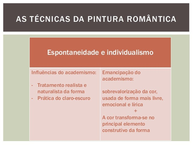AS TÉCNICAS DA PINTURA ROMÂNTICA         Espontaneidade e individualismo   Influências do academismo:   Emancipação do    ...