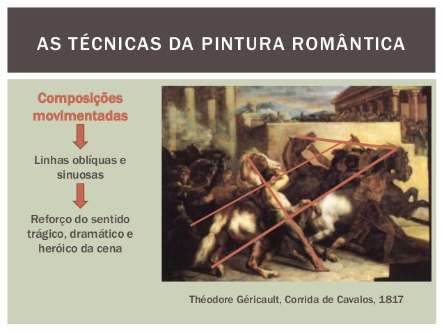 AS TÉCNICAS DA PINTURA ROMÂNTICA Composições movimentadas Linhas oblíquas e     sinuosas Reforço do sentidotrágico, dramát...