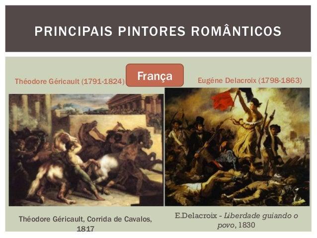 PRINCIPAIS PINTORES ROMÂNTICOSThéodore Géricault (1791-1824)                                   França         Eugéne Delac...