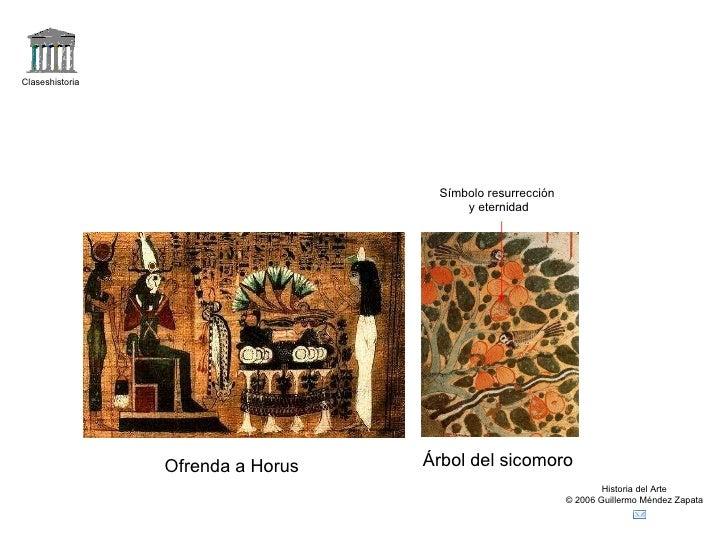 Claseshistoria Historia del Arte © 2006 Guillermo Méndez Zapata Ofrenda a Horus Árbol del sicomoro Símbolo resurrección y ...