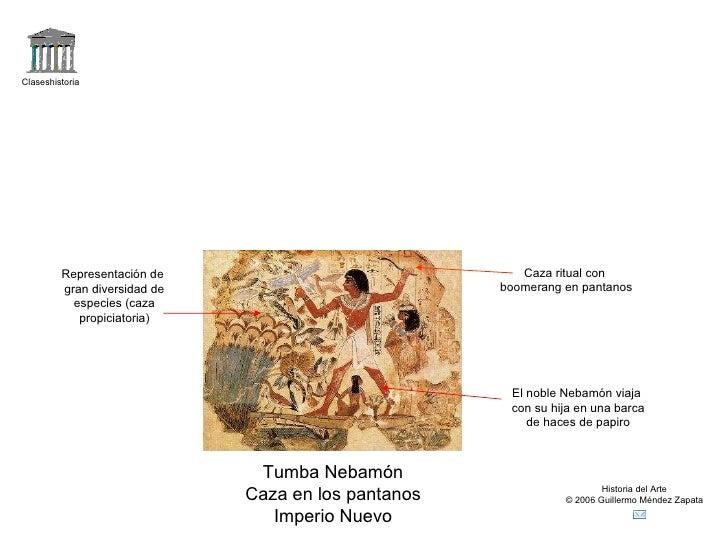 Claseshistoria Historia del Arte © 2006 Guillermo Méndez Zapata Tumba Nebamón Caza en los pantanos Imperio Nuevo Caza ritu...