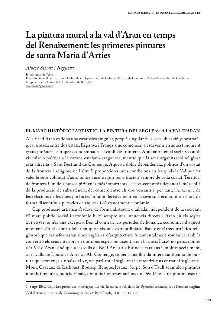 iMatgEs indiscrEtEs i (2008), Barcelona, 2010, pàgs. 163-178La pintura mural a la val d'Aran en tempsdel Renaixement: les ...