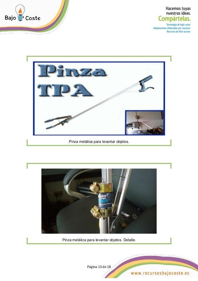 Página 13 de 18 Página 13 de 18 Pinza metálica para levantar objetos. Pinza metálica para levantar objetos. Detalle.