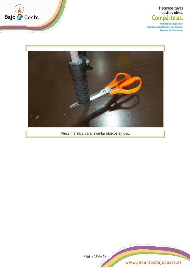 Página 18 de 18 Página 18 de 18 Pinza metálica para levantar objetos en uso.