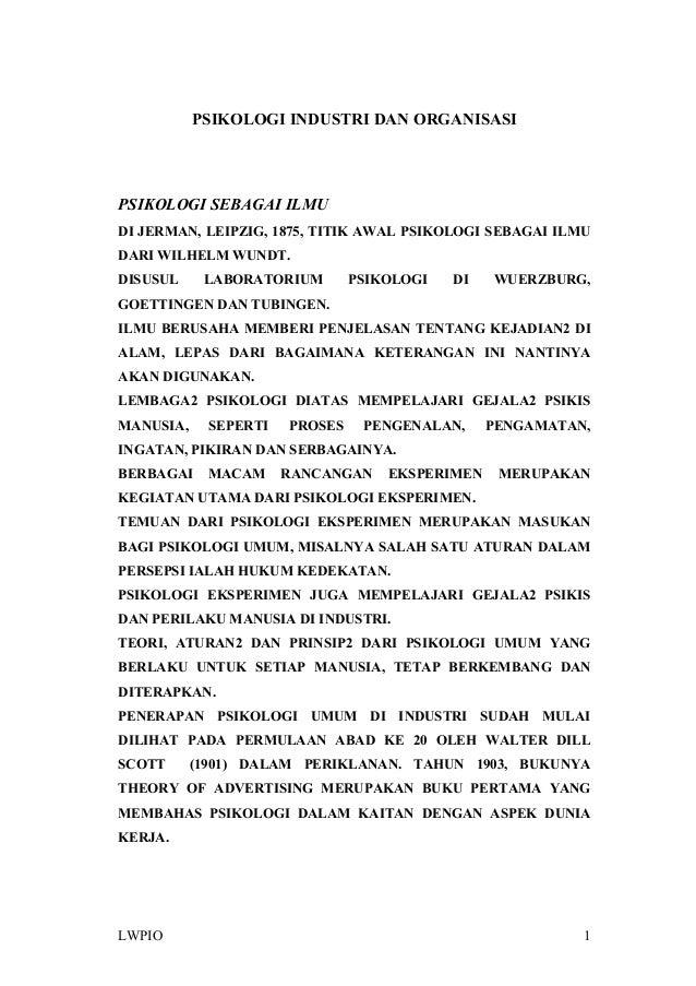 PSIKOLOGI INDUSTRI DAN ORGANISASI PSIKOLOGI SEBAGAI ILMU DI JERMAN, LEIPZIG, 1875, TITIK AWAL PSIKOLOGI SEBAGAI ILMU DARI ...