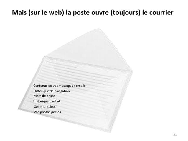 Mais (sur le web) la poste ouvre (toujours) le courrier Historique de navigation Mots de passe Historique d'achat Contenus...