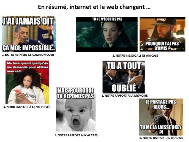 En résumé, internet et le web changent … 6. NOTRE RAPPORT AU PARTAGE 5. NOTRE RAPPORT À LA MÉMOIRE 3. NOTRE RAPPORT À LA V...