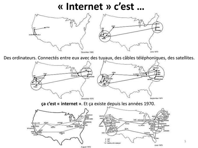 « Internet » c'est … Des ordinateurs. Connectés entre eux avec des tuyaux, des câbles téléphoniques, des satellites. ça c'...