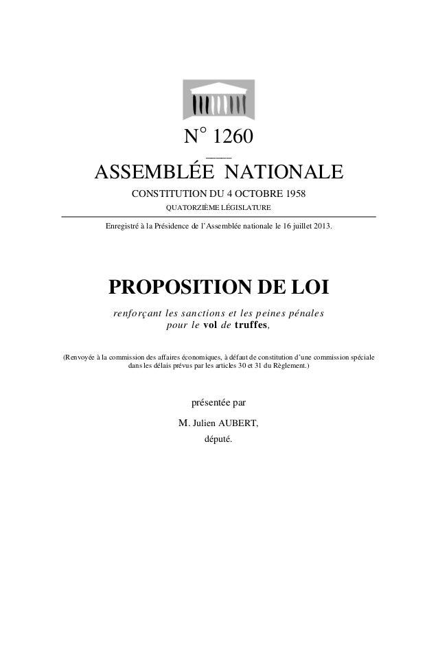N° 1260 _____ ASSEMBLÉE NATIONALE CONSTITUTION DU 4 OCTOBRE 1958 QUATORZIÈME LÉGISLATURE Enregistré à la Présidence de l'A...