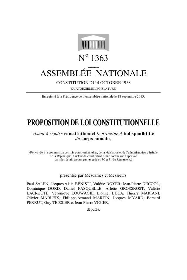 N° 1363 _____ ASSEMBLÉE NATIONALE CONSTITUTION DU 4 OCTOBRE 1958 QUATORZIÈME LÉGISLATURE Enregistré à la Présidence de l'A...