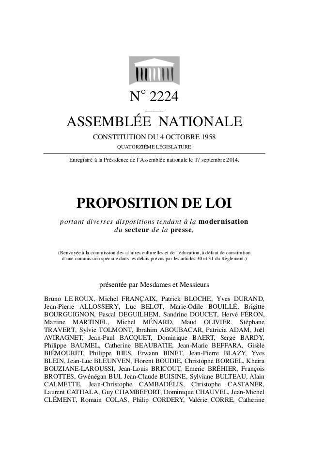 N° 2224  _____  ASSEMBLÉE NATIONALE  CONSTITUTION DU 4 OCTOBRE 1958  QUATORZIÈME LÉGISLATURE  Enregistré à la Présidence d...