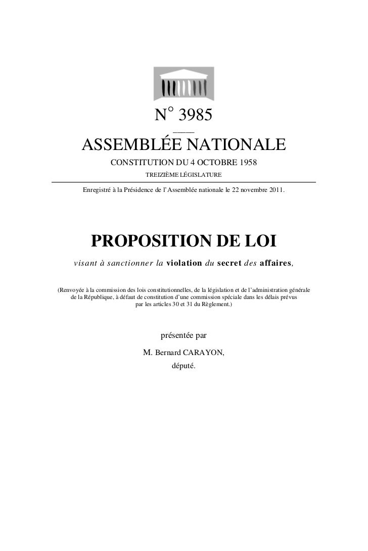 N° 3985                                               _____         ASSEMBLÉE NATIONALE                     CONSTITUTION D...