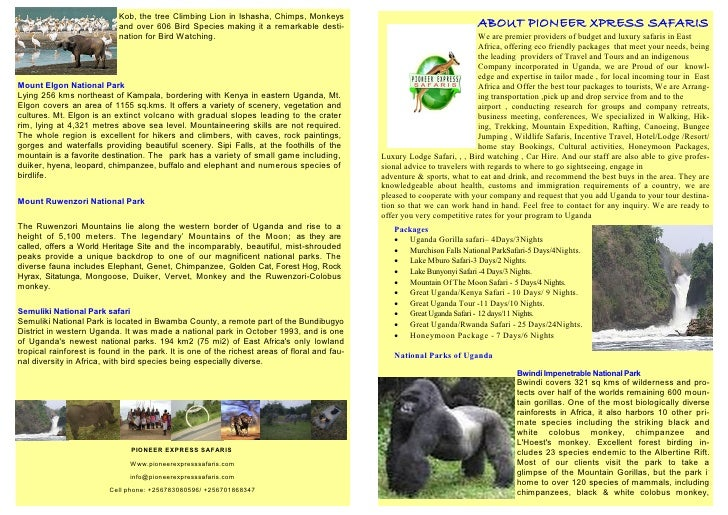 Kob, the tree Climbing Lion in Ishasha, Chimps, Monkeys                            and over 606 Bird Species making it a r...
