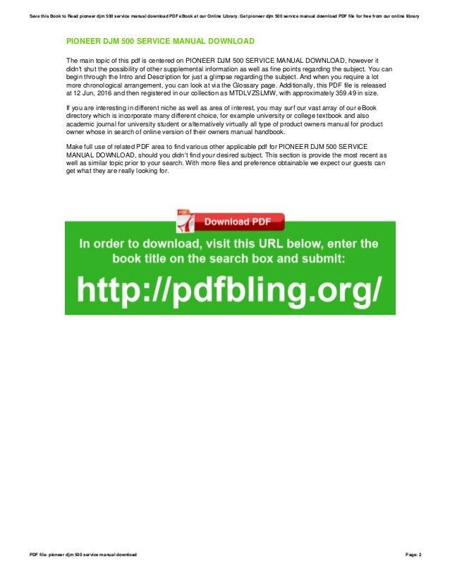 pioneer djm 500 service manual download rh slideshare net DJM- 600 pioneer djm 500 service manual