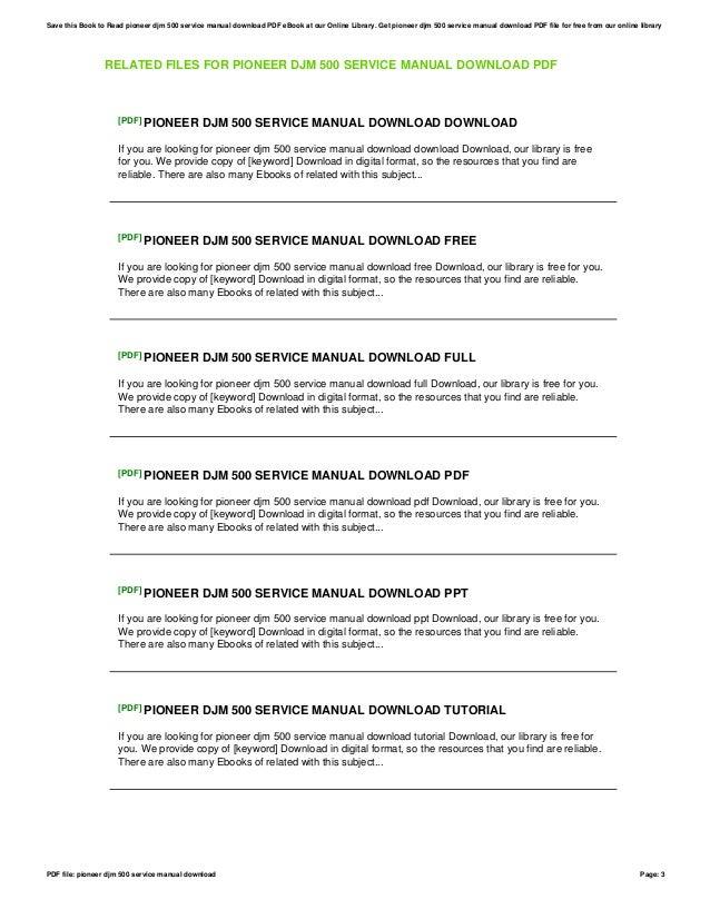 pioneer djm 500 service manual download rh slideshare net Pioneer DJM 500 Manual Pioneer DJM 500 Review