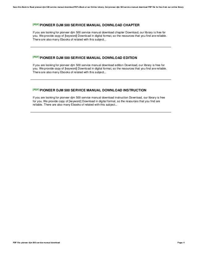 pioneer djm 500 service manual download rh slideshare net DJM-500 Mixer pioneer djm 500 service manual