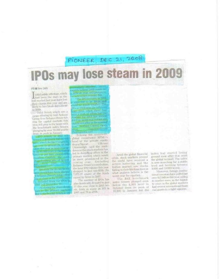 Pioneer Dec 21, 2008 IPOs May Lose Steam In 2009