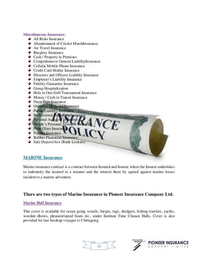 Marine Insurance of Pioneer insurance company ltd