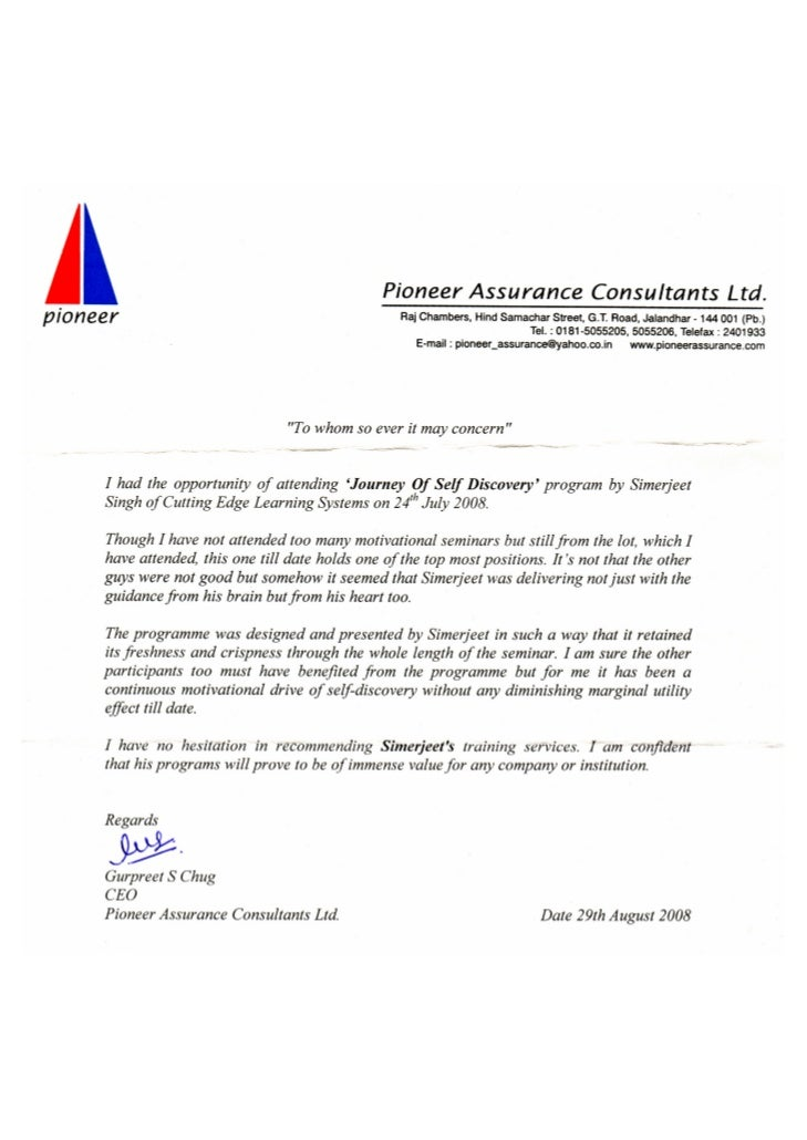 Testimonial CEO Pioneer Assurance Ltd. - Journey of Self Discovery - NLP based Stress Management New Delhi, Emotional Heal...