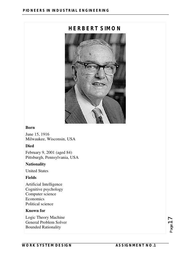 herbert alexander simon essay Herbert alexander simon inteligencia artificial rand corporation allen newell - 1952 resolución de problemas - simular con ordenadores j cliff shaw - primer.