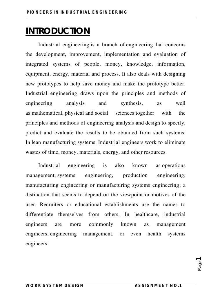 statement of purpose industrial engineering