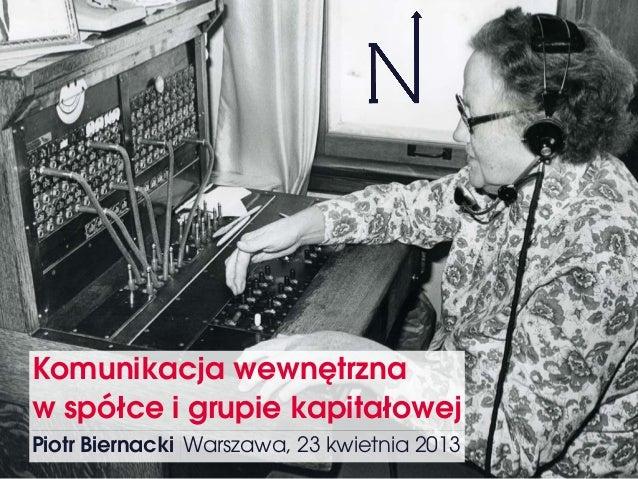 Komunikacja wewnętrzna w spółce i grupie kapitałowej Piotr Biernacki Warszawa, 23 kwietnia 2013