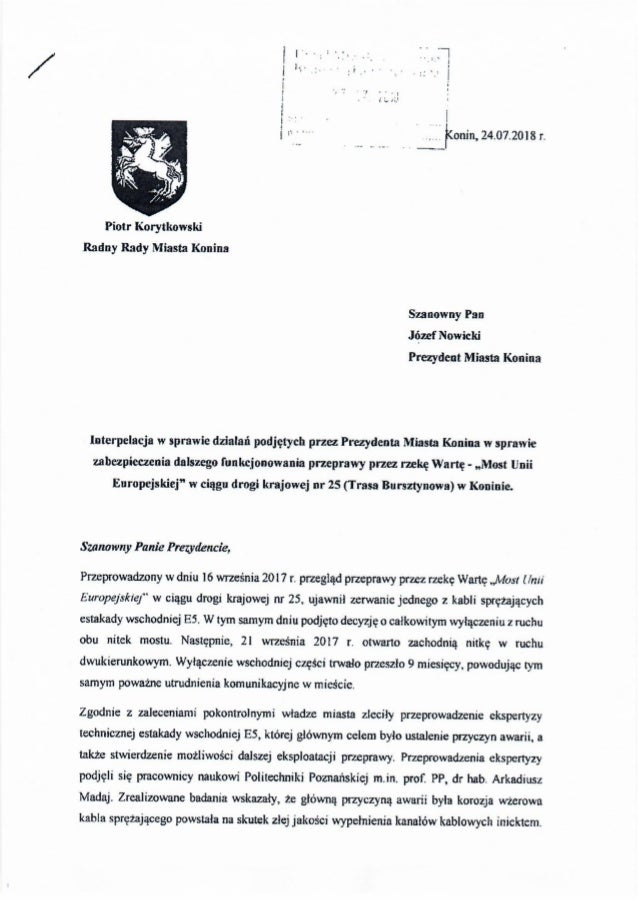 Piotr Korytkowski, interpelacja w sprawie przeprawy.